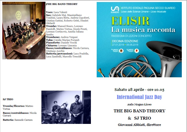 International Jazz Day  – The Big Band Theory & Sj Trio